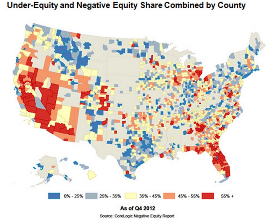 CoreLogic Homeowner Negative Equity Map