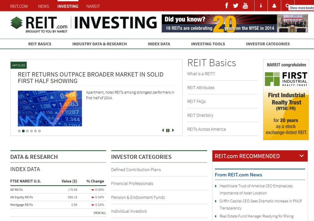 Apartment Building Investment REITS perform best during 1H 2014